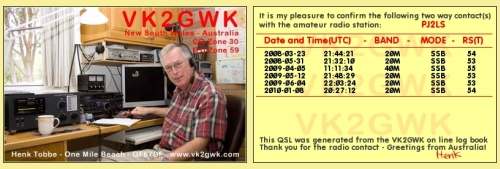 Example of generated QSL card